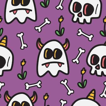 Hand-drawn halloween doodle design illustration