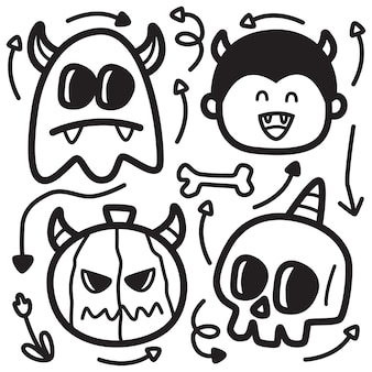 Hand drawn halloween doodle design illustration