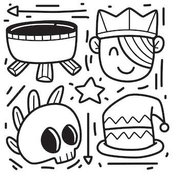Hand drawn halloween doodle design illustration