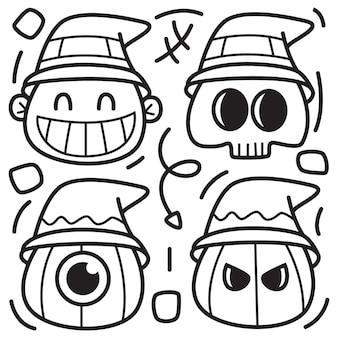 Hand drawn halloween doodle  illustration