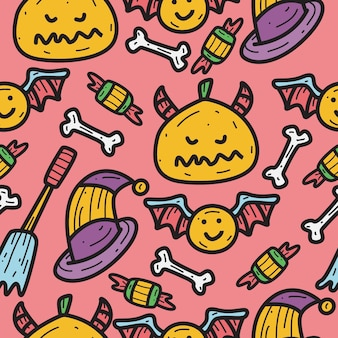 Hand drawn halloween doodle pattern design illustration