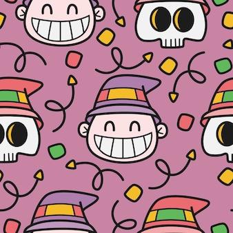 Ручной обращается хэллоуин каракули шаблон иллюстрации