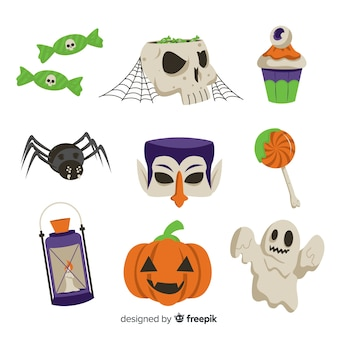 Hand drawn halloween element collection white surface