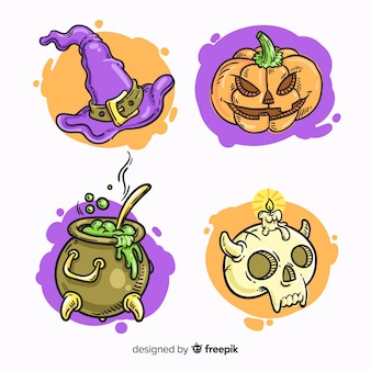 Hand drawn halloween element collection Free Vector