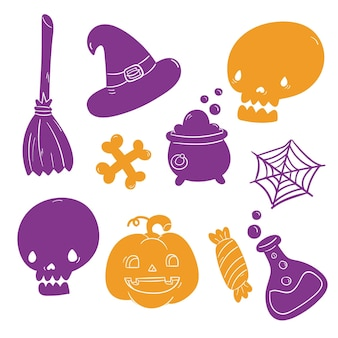 Hand drawn halloween element collection
