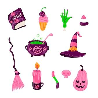 Collezione di elementi di halloween disegnati a mano