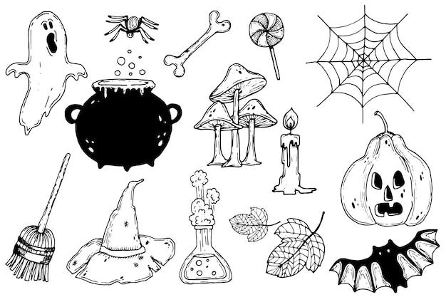 Ручной обращается хэллоуин элемент коллекции