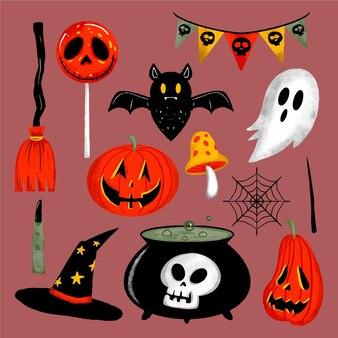 Hand drawn halloween element collection
