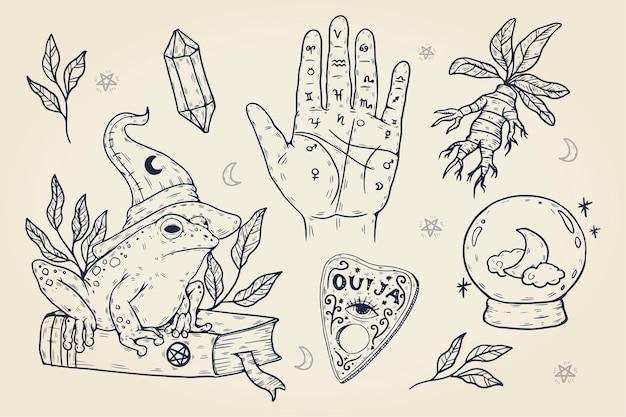 손으로 그린 할로윈 요소 컬렉션
