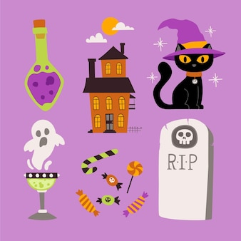 Hand-drawn halloween element pack