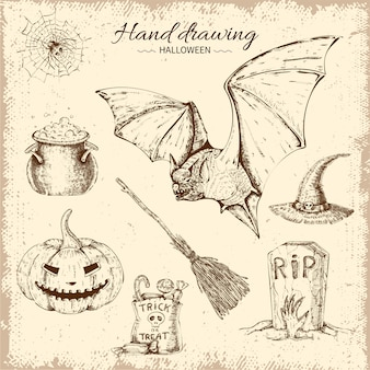 Hand drawn halloween element set