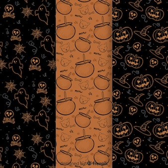 Hand drawn halloween elements pattern collection