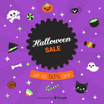 Hand drawn halloween elements sale collection