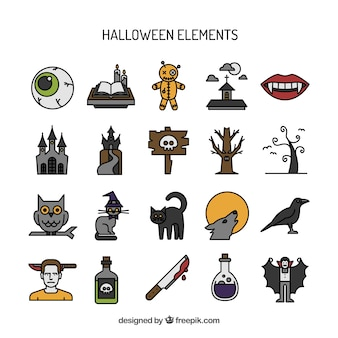 Hand drawn halloween elements set