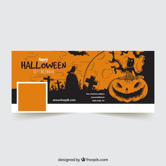 Hand drawn halloween facebook cover