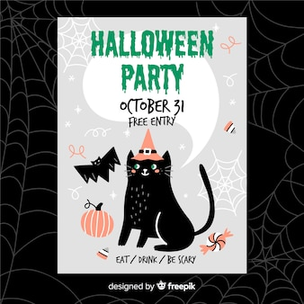 Hand drawn halloween flyer with black cat