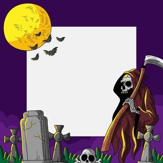 Нарисованный рукой шаблон рамки хэллоуина