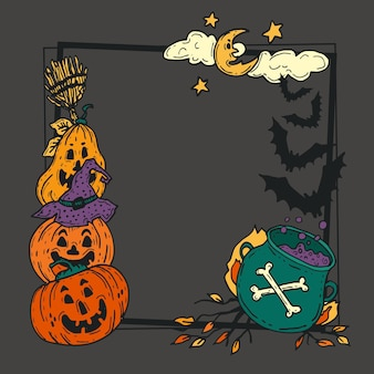 Hand drawn halloween frame template