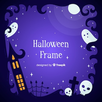 Hand drawn halloween frame with ghosts
