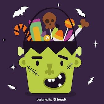 Hand drawn halloween frankenstein bag