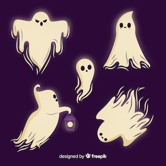 Hand drawn halloween ghost collection on purple background
