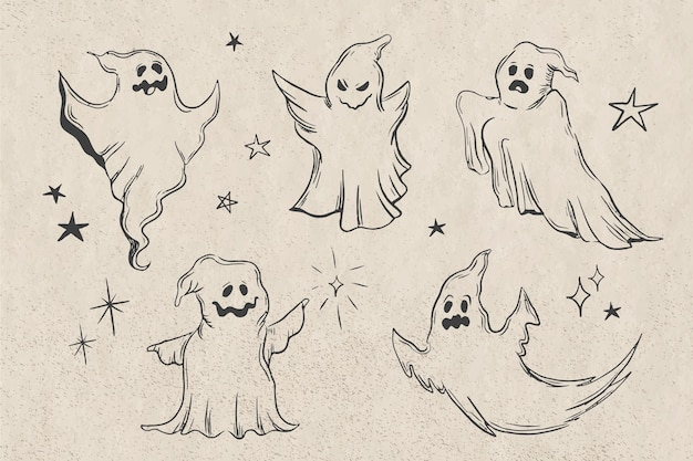 Hand drawn halloween ghost collection    zoom