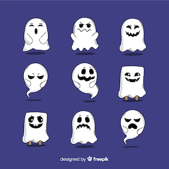Hand drawn halloween ghost collection