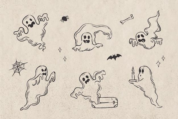 손으로 그린 할로윈 유령 컬렉션
