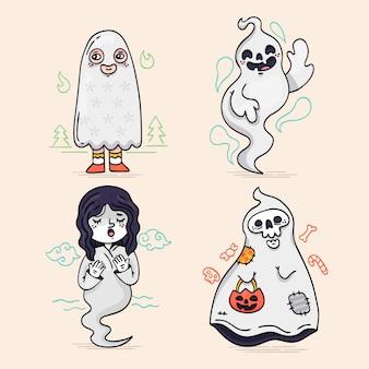 Collezione di fantasmi di halloween disegnati a mano