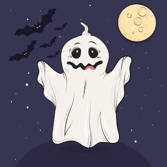 Нарисованная рукой иллюстрация призрака хэллоуина
