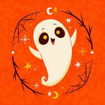 Hand drawn halloween ghost illustration