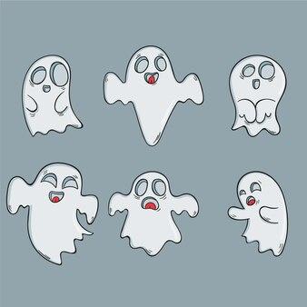 Pacchetto fantasma di halloween disegnato a mano