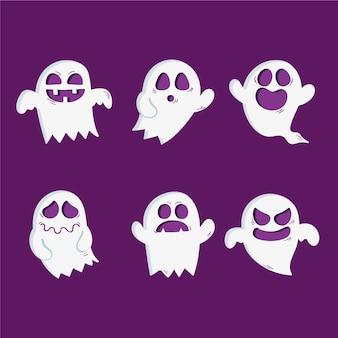 Set di fantasmi di halloween disegnato a mano