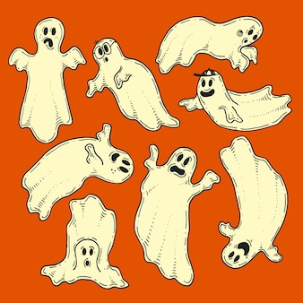 Hand drawn halloween ghosts collection