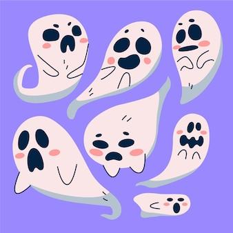 Нарисованная рукой иллюстрация призраков хэллоуина