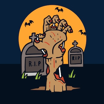 Hand drawn halloween hand reaching out the grave illustration