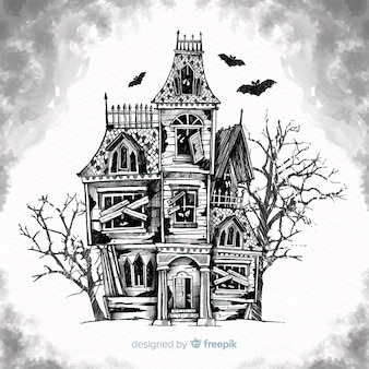 Hand drawn halloween haunted house background