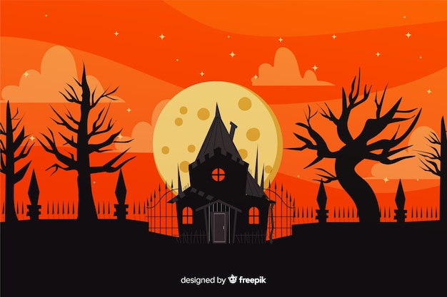 Hand drawn of halloween haunted house background