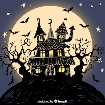 Hand drawn halloween haunted house with full moon