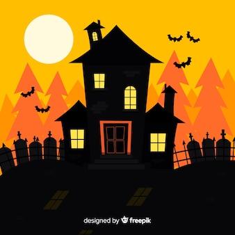 Hand drawn halloween haunted house