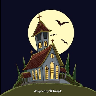 Hand drawn halloween haunted house