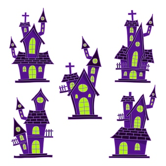 Hand drawn halloween haunted houses collection