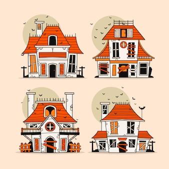 손으로 그린 할로윈 유령의 집 컬렉션