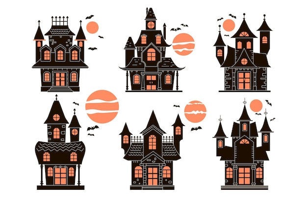 Hand drawn halloween house collection