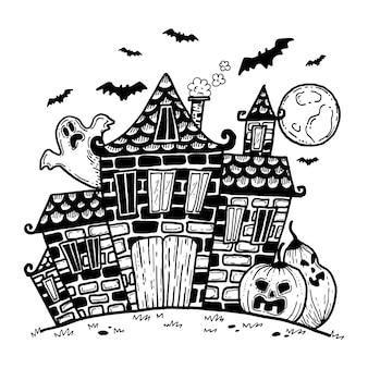 手描きのハロウィーンの家のコンセプト