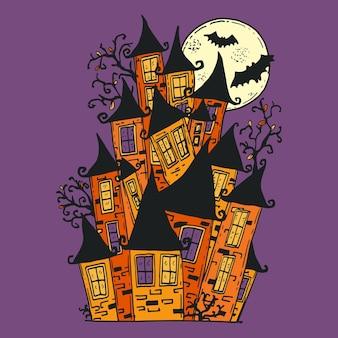 Hand drawn halloween house illustration