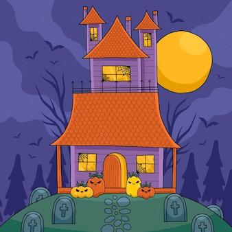 Illustrazione disegnata a mano della casa di halloween