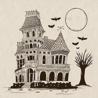 손으로 그린 할로윈 집 그림