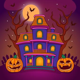 Casa di halloween disegnata a mano