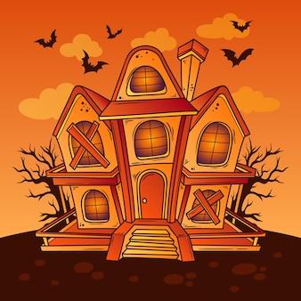 Hand drawn halloween house